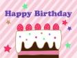 いちごケーキの誕生日のグリーティングカードのイラスト