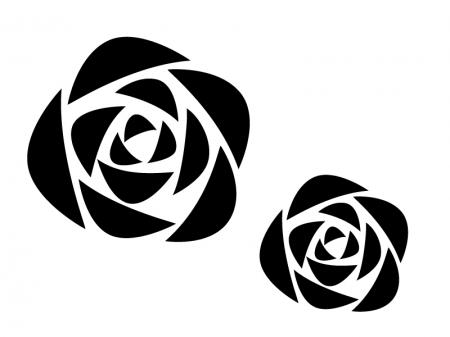薔薇の白黒シルエットのイラスト