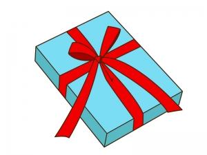 大きなリボンが付いたプレゼント箱のイラスト