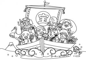 宝船に乗った七福神のぬりえ(線画)イラスト素材