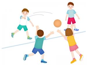ドッジボールをしている子供たちのイラスト