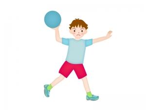 ドッヂボールを投げようとしている子供のイラスト