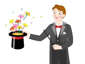 シルクハットから花を出しているマジシャンのイラスト