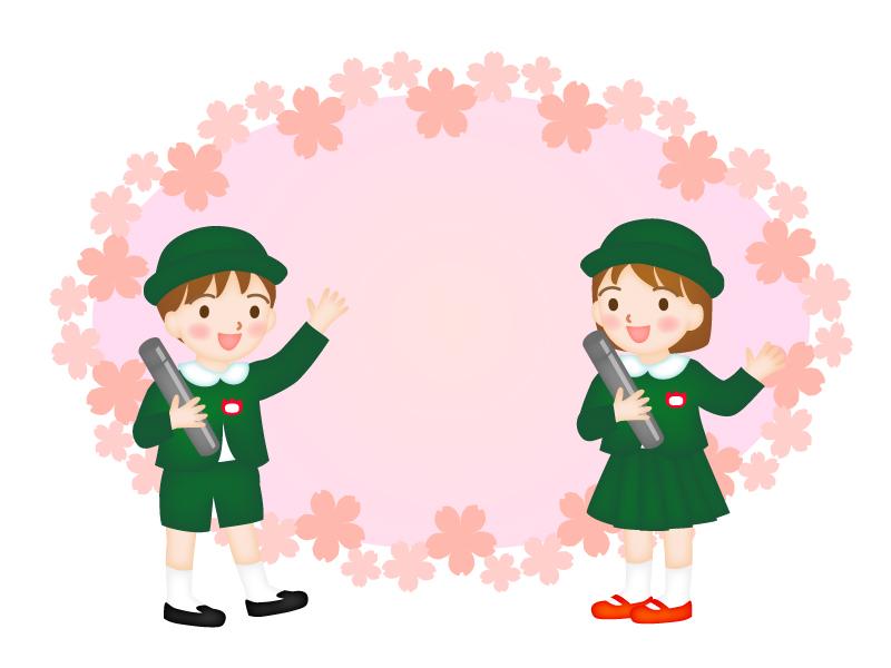 桜と園児の卒園式のフレーム・枠のイラスト