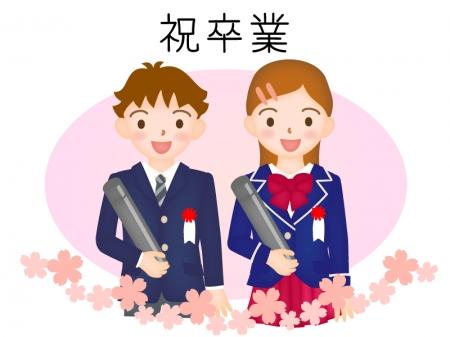 桜と小学校の卒業式のイラスト
