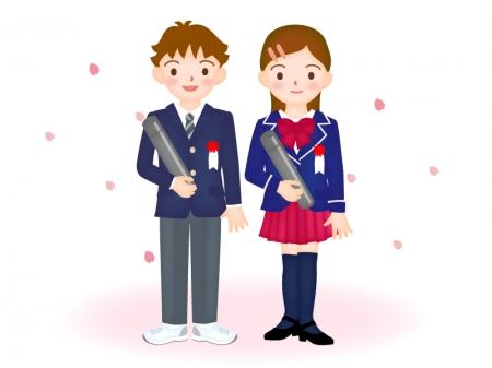 桜と小学校の卒業式のイラスト素材02
