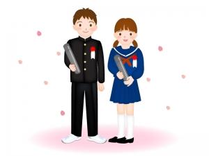 中学校を卒業した男の子と女の子のイラスト