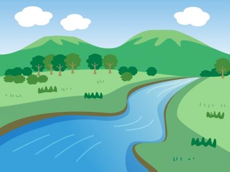 風景・山と川のイラスト 山と川の風景イラスト | イラスト無料・かわいいテンプレート 山と川の風