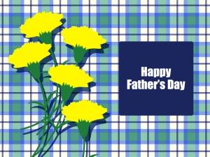 父の日の黄色いカーネーションのグリーティングカードのイラスト