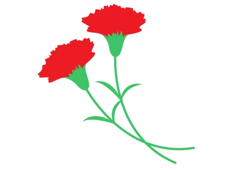 シンプルな二輪の赤いカーネーションのイラスト
