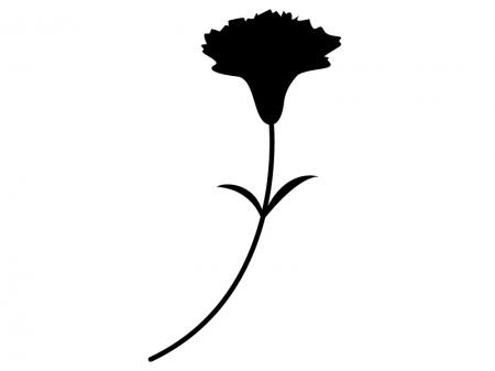 カーネーションのシルエット(白黒)のイラスト