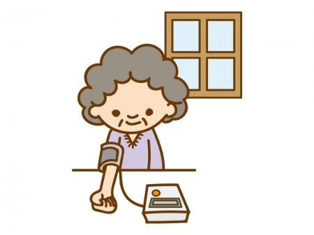 自宅血圧計で血圧を測っているお年寄りのイラスト