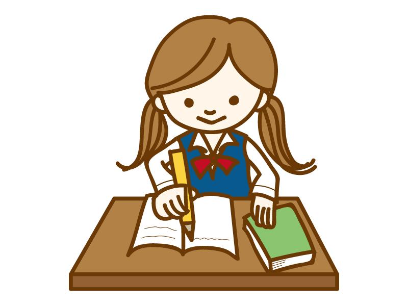 勉強をしている女性学生のイラスト