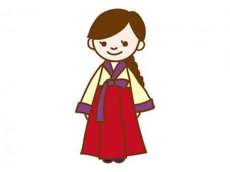 韓国衣装のチマチョゴリを着ている女性のイラスト