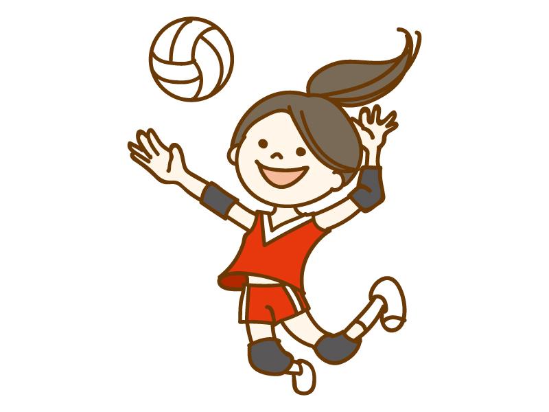 バレーボールをしている女性学生のイラスト