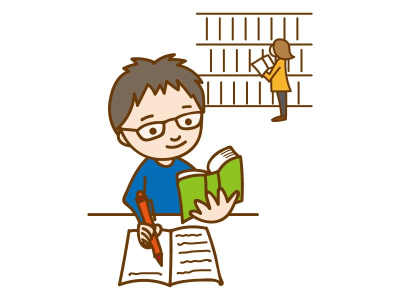 図書館で読書ノートを活用してメモしている学生のイラスト