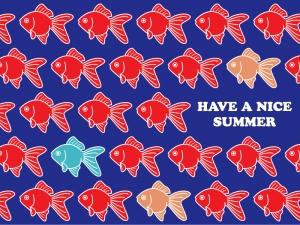 金魚がたくさんいる夏のグリーティングカードのイラスト