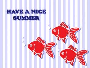 三匹の金魚がいる夏のグリーティングカードのイラスト