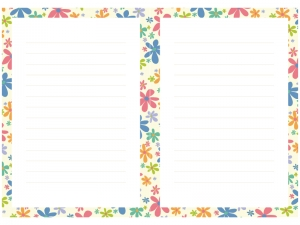 カラフルな小花の枠線の便箋素材