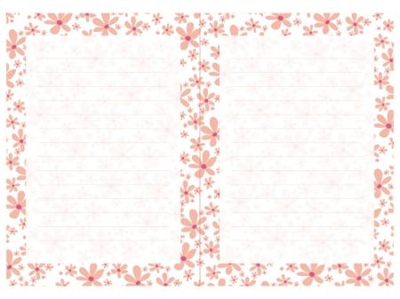 ピンクの小花の便箋素材
