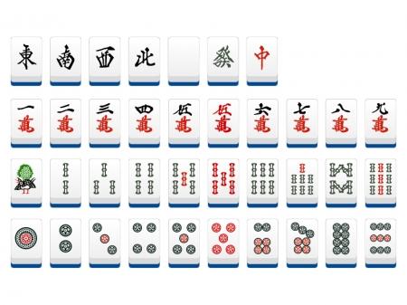 麻雀・マージャンの牌のセットのイラスト