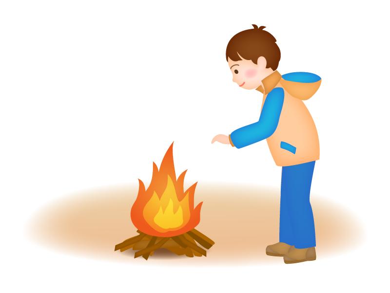 たき火にあたっている男性のイラスト