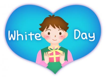 ホワイトデー・プレゼントを持つ男の子のイラスト