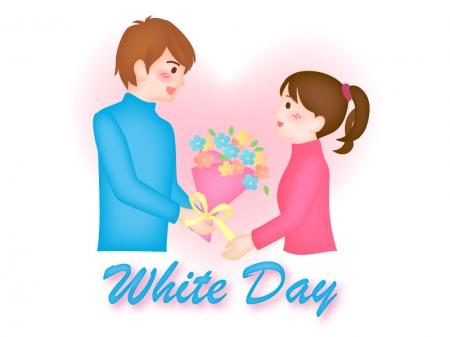ホワイトデー・花束を送る男性と受け取る女性のイラスト