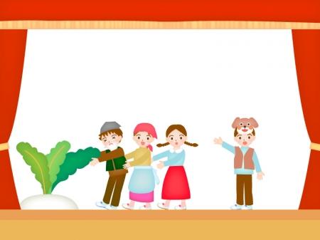 学芸会の劇(おおきなカブ)のイラスト