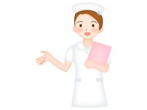 ピンクのカルテを持った看護師さんのイラスト