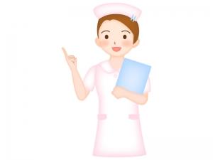 青いカルテを持った看護師さんのイラスト