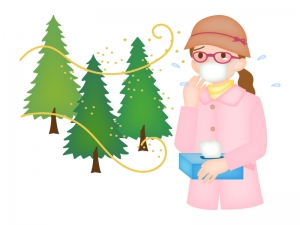 花粉症の女性のイラスト