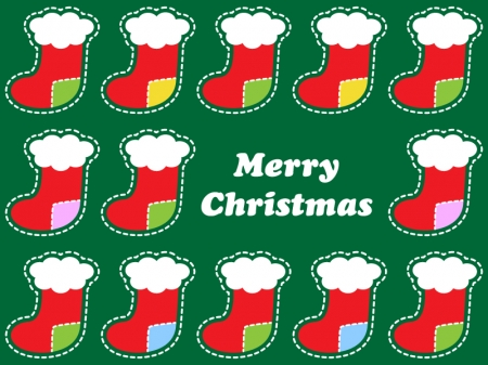 クリスマス靴下のグリーティングカードイラスト