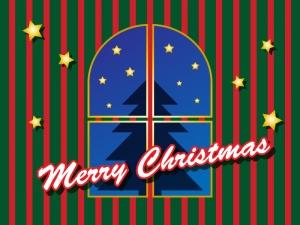 窓から見えるクリスマスツリーのグリーティングカードイラスト
