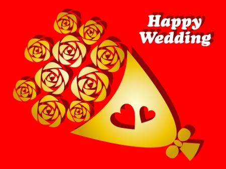 ゴールドのバラの花束のウェディングカードのイラスト