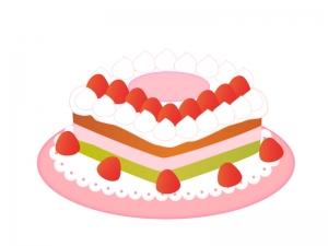 いちごのホールケーキのイラスト