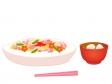 雛祭り・ちらし寿司とはまぐりのお吸い物のイラスト