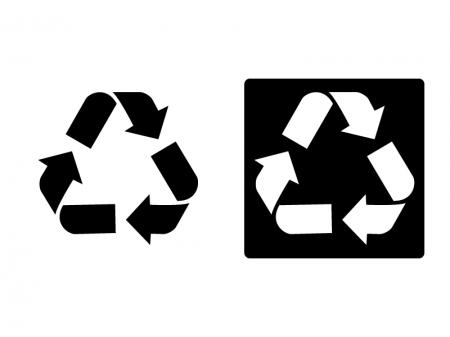 リサイクルをイメージさせるマークのシルエットイラスト