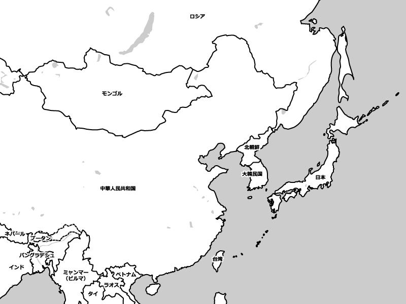 アジアの白地図イラスト素材