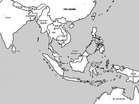 東南アジアの白地図イラスト素材