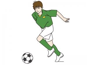 サッカーでドリブルする少年のイラスト