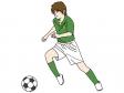 サッカーでパスしようとする少年のイラスト