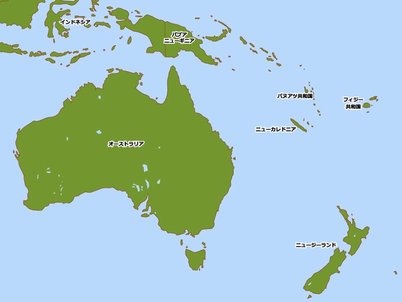 オセアニア主要国・島の地図イラスト素材