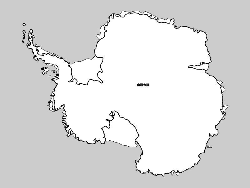 南極大陸の白地図イラスト素材