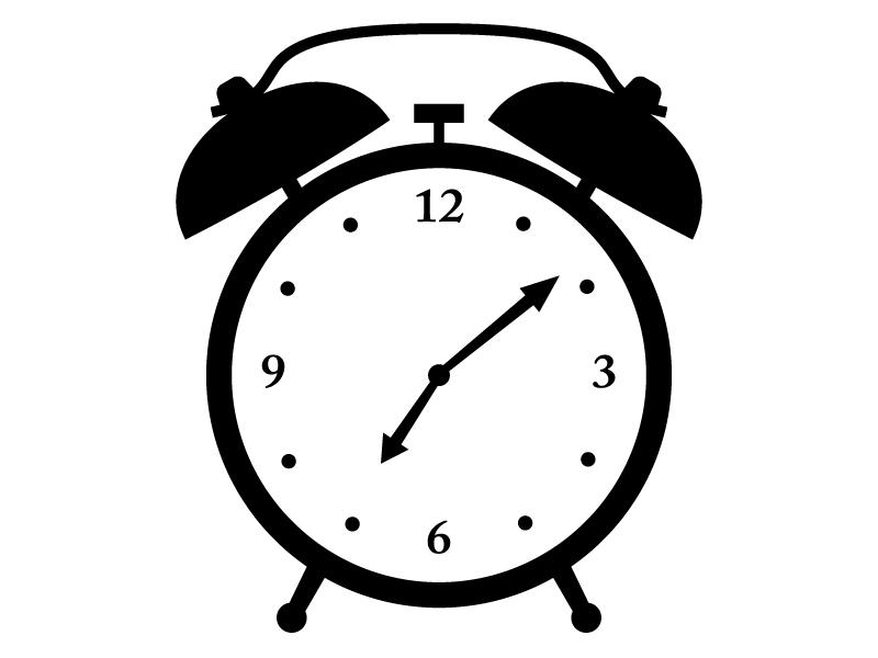 目覚まし時計の白黒シルエットイラスト