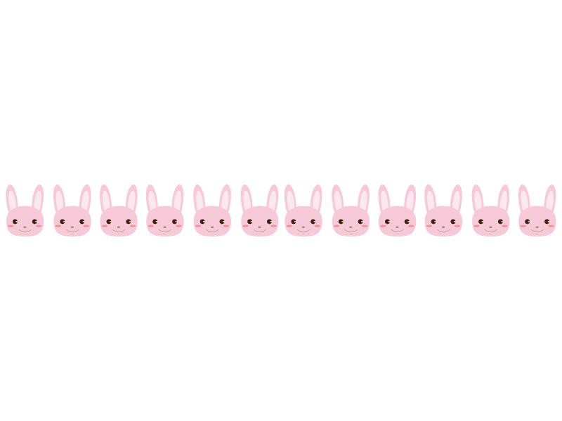 ピンク色のウサギのライン・線イラスト