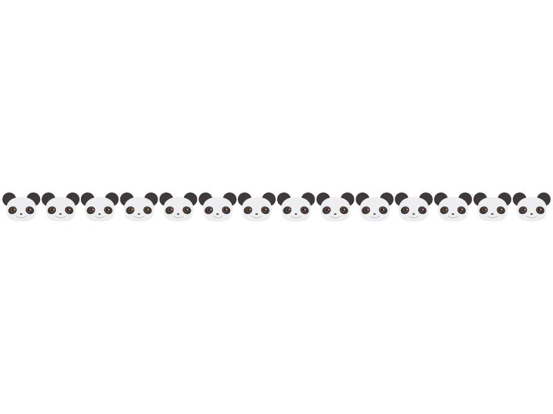 かわいらしいパンダのライン・線イラスト