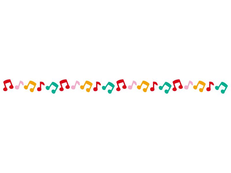 カラフルな音符のライン・線イラスト02