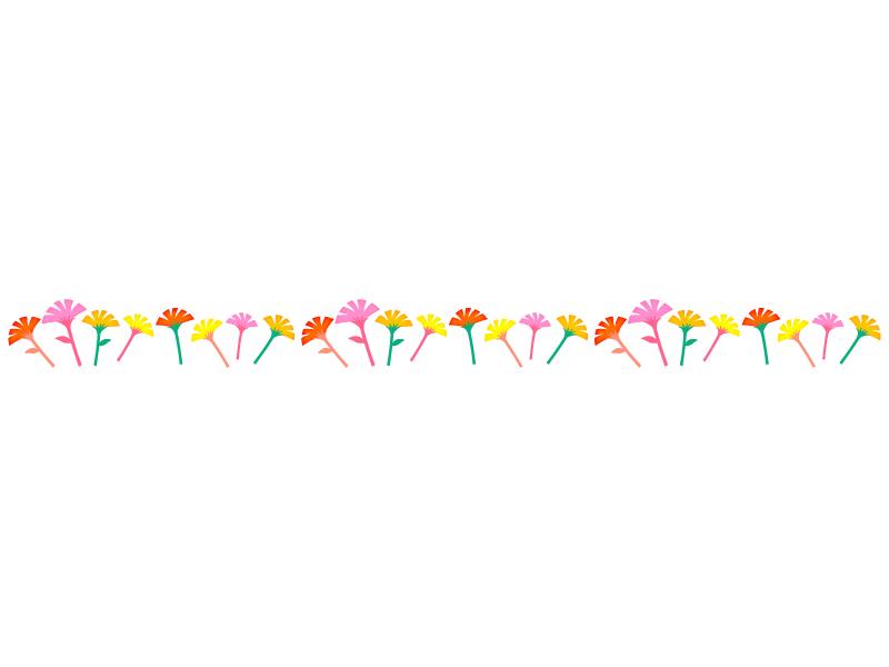 カラフルなカーネーションのライン・線イラスト