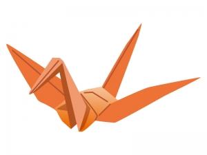 折り鶴(朱色)のイラスト